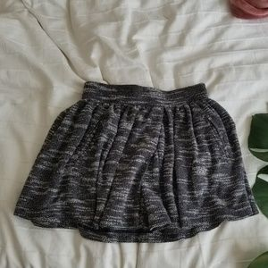 Free People Black & White Pleated Mini Skirt, XS
